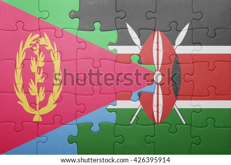 puzzle with the national flag of kenya and eritrea. concept - stock photo