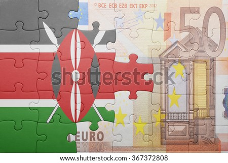 puzzle with the national flag of kenya and euro banknote . concept - stock photo