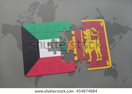 puzzle with the national flag of kuwait and sri lanka on a world map background. 3D illustration