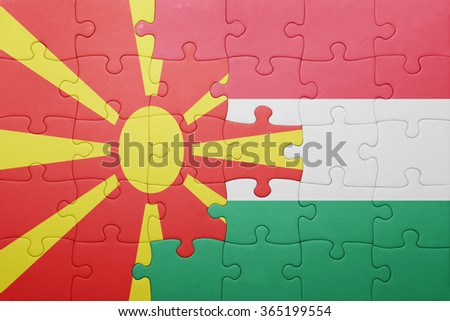 puzzle with the national flag of macedonia and hungary . concept
