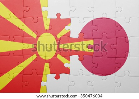 puzzle with the national flag of macedonia and japan. concept