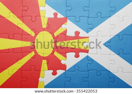 puzzle with the national flag of macedonia and scotland . concept