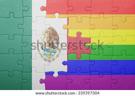 puzzle with the national flag of mexico and gay flag.concept - stock photo