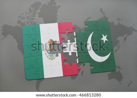 puzzle with the national flag of mexico and pakistan on a world map background. 3D illustration
