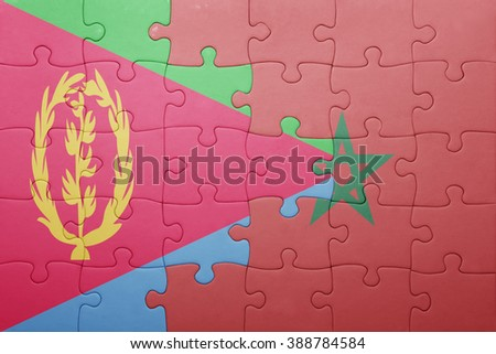 puzzle with the national flag of morocco and eritrea . concept - stock photo