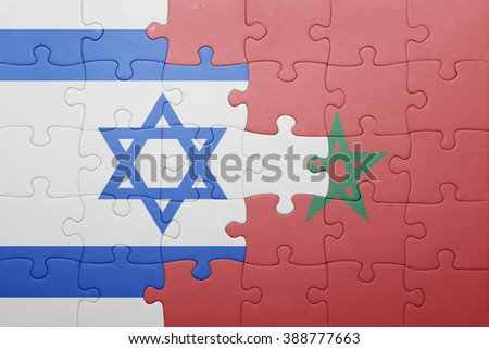 puzzle with the national flag of morocco and israel . concept
