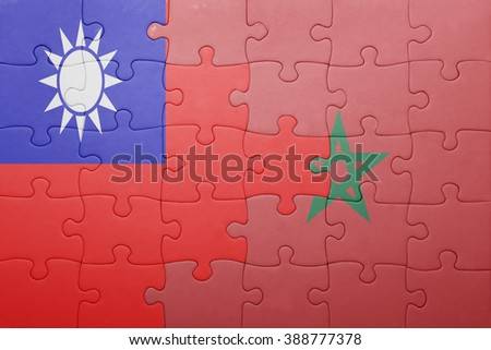 puzzle with the national flag of morocco and taiwan . concept - stock photo