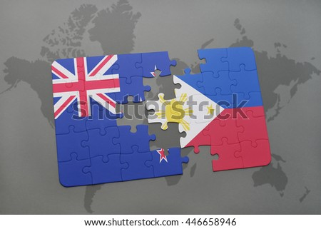 Puzzle national flag new zealand philippines stock illustration puzzle with the national flag of new zealand and philippines on a world map background gumiabroncs Image collections