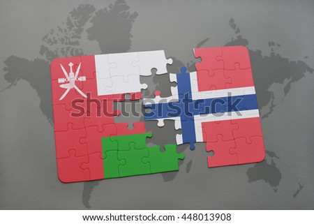 puzzle with the national flag of oman and norway on a world map background. 3D illustration - stock photo