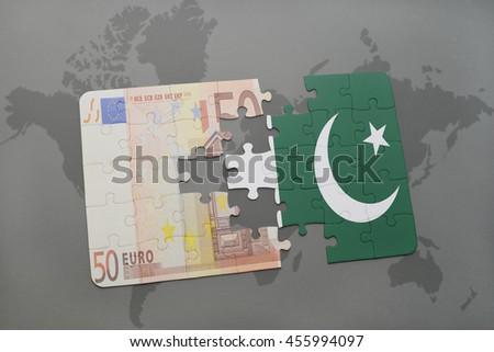 puzzle with the national flag of pakistan and euro banknote on a world map background. 3D illustration