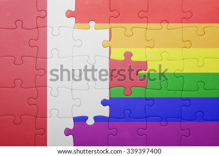 puzzle with the national flag of peru and gay flag.concept - stock photo
