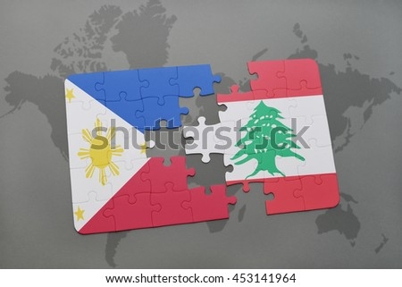 puzzle with the national flag of philippines and lebanon on a world map background. 3D illustration - stock photo
