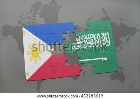 Puzzle national flag philippines saudi arabia stock illustration puzzle with the national flag of philippines and saudi arabia on a world map background gumiabroncs Choice Image