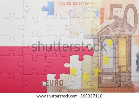 puzzle with the national flag of poland and euro banknote . concept - stock photo