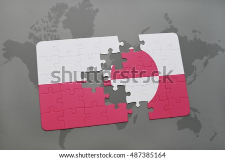 puzzle with the national flag of poland and greenland on a world map background. 3D illustration