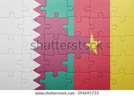 puzzle with the national flag of qatar and cameroon . concept