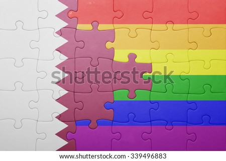 puzzle with the national flag of qatar and gay flag.concept
