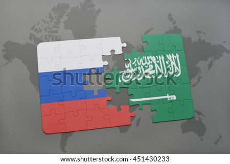 puzzle with the national flag of russia and saudi arabia on a world map background. 3D illustration
