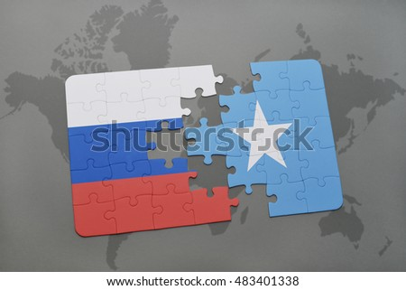 puzzle with the national flag of russia and somalia on a world map background. 3D illustration