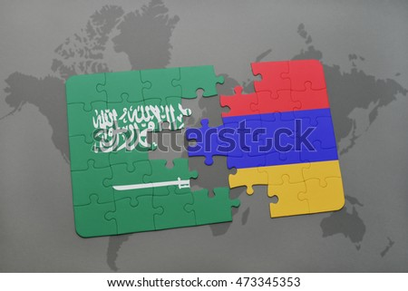 puzzle with the national flag of saudi arabia and armenia on a world map background. 3D illustration