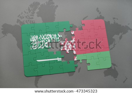 puzzle with the national flag of saudi arabia and belarus on a world map background. 3D illustration