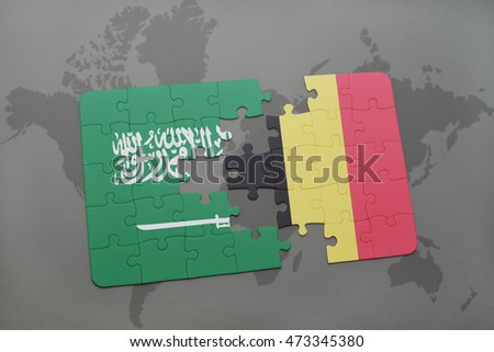 puzzle with the national flag of saudi arabia and belgium on a world map background. 3D illustration