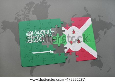 puzzle with the national flag of saudi arabia and burundi on a world map background. 3D illustration