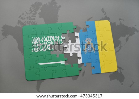 puzzle with the national flag of saudi arabia and canary islands on a world map background. 3D illustration