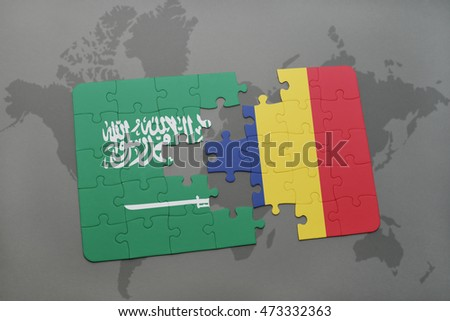 puzzle with the national flag of saudi arabia and chad on a world map background. 3D illustration
