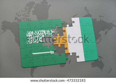puzzle with the national flag of saudi arabia and cote divoire on a world map background. 3D illustration