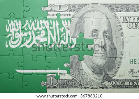 puzzle with the national flag of saudi arabia and dollar banknote . concept