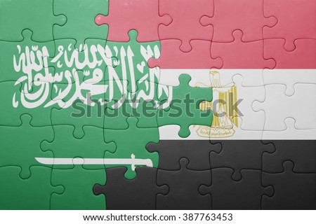 puzzle with the national flag of saudi arabia and egypt. concept