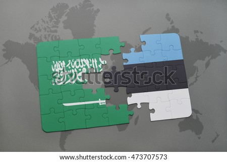 puzzle with the national flag of saudi arabia and estonia on a world map background. 3D illustration