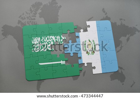 puzzle with the national flag of saudi arabia and guatemala on a world map background. 3D illustration