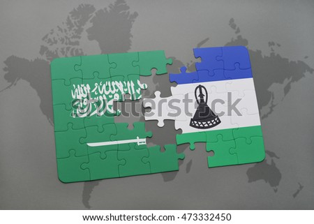 puzzle with the national flag of saudi arabia and lesotho on a world map background. 3D illustration