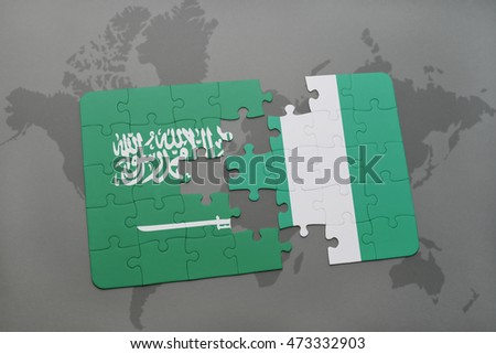 puzzle with the national flag of saudi arabia and nigeria on a world map background. 3D illustration