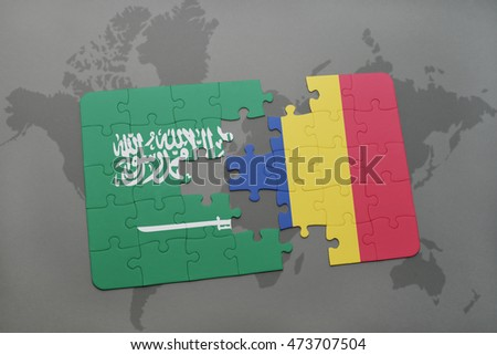 puzzle with the national flag of saudi arabia and romania on a world map background. 3D illustration