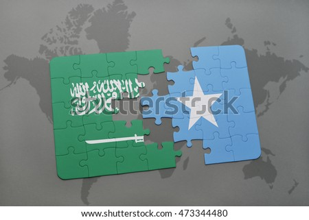puzzle with the national flag of saudi arabia and somalia on a world map background. 3D illustration