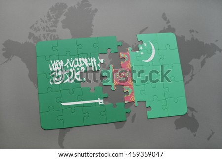 puzzle with the national flag of saudi arabia and turkmenistan on a world map background. 3D illustration