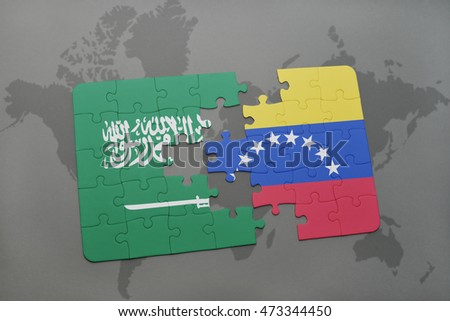 puzzle with the national flag of saudi arabia and venezuela on a world map background. 3D illustration