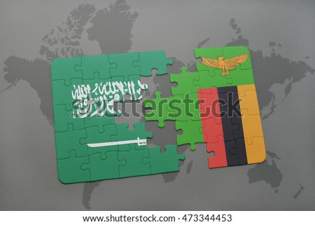 puzzle with the national flag of saudi arabia and zambia on a world map background. 3D illustration