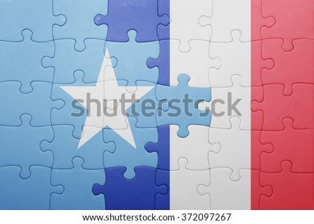 puzzle with the national flag of somalia and france . concept