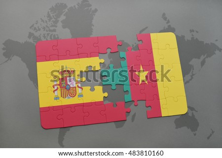 puzzle with the national flag of spain and cameroon on a world map background. 3D illustration