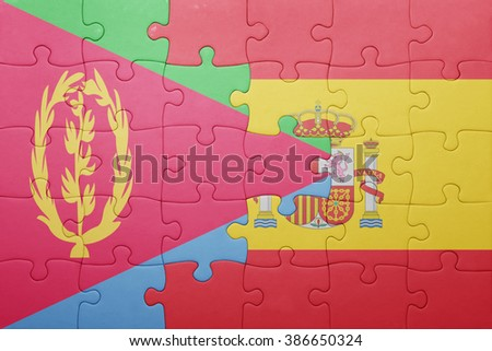 puzzle with the national flag of spain and eritrea . concept - stock photo
