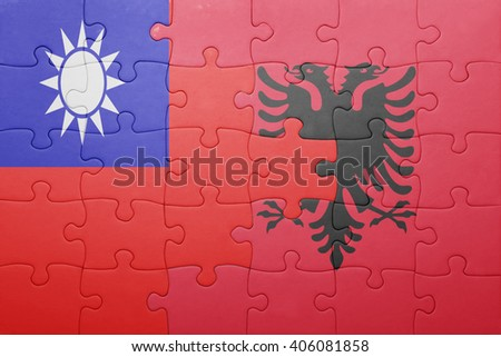 puzzle with the national flag of taiwan and albania . concept - stock photo