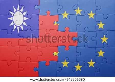 puzzle with the national flag of taiwan and european union . concept - stock photo