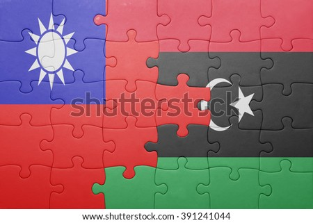 puzzle with the national flag of taiwan and libya . concept - stock photo