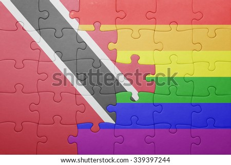 puzzle with the national flag of trinidad and tobago and gay flag.concept - stock photo
