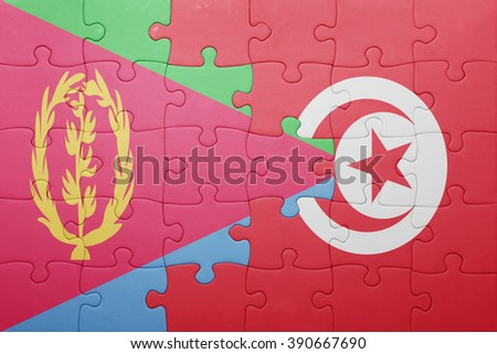 puzzle with the national flag of tunisia and eritrea . concept - stock photo