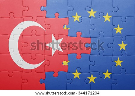 puzzle with the national flag of turkey and european union . concept - stock photo